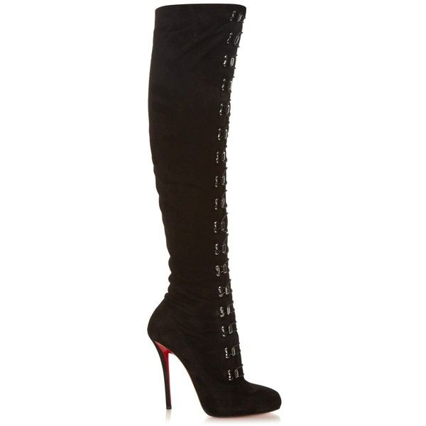 Christian Louboutin Top Croche over-the-knee suede boots (3,210 CAD) ❤ liked on Polyvore featuring shoes, boots, black, black thigh boots, black boots, thigh high boots, black pointed toe boots and thigh boots