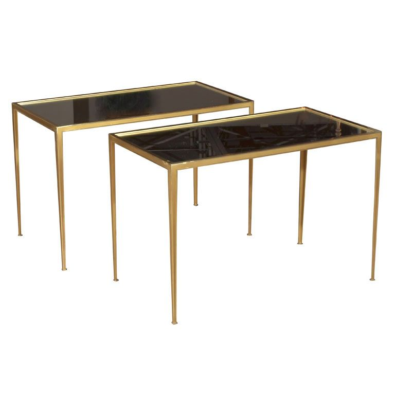 Pair Brass German Side End Tables Germany 1970 S Pair Of Delicate