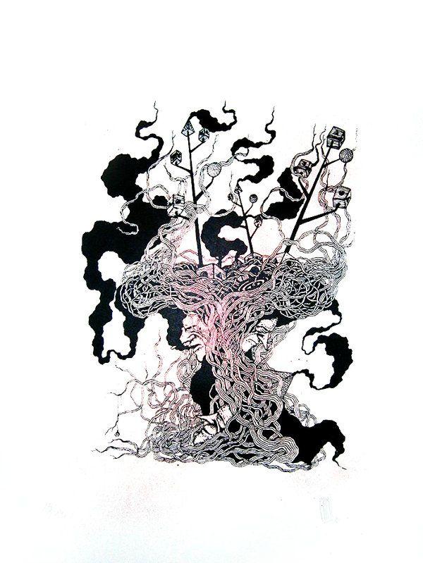 #PERI #STREETART #SILKSCREEN #GRAFFITI #CROWDFUNDING - VPH by Peri - Serigrafia 69x54 papel 300gr Limited edition of 23 copies  - DesOrdes Creativas 2013 es un festival internacional de arte urbano que tiene lugar cada año en Ordes ( A Coruña). arbol tree raizes roots +INFO www.desordescreativas.com crowdfunding verkami www.verkami.com/projects/5881