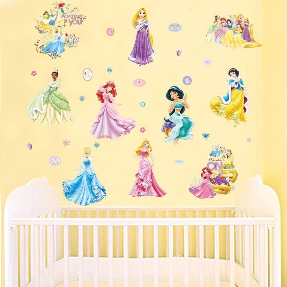 Details About 29pcs Disney Princess Wall Stickers Kids Nursery Decor Girls  Decal Art Mural Part 56