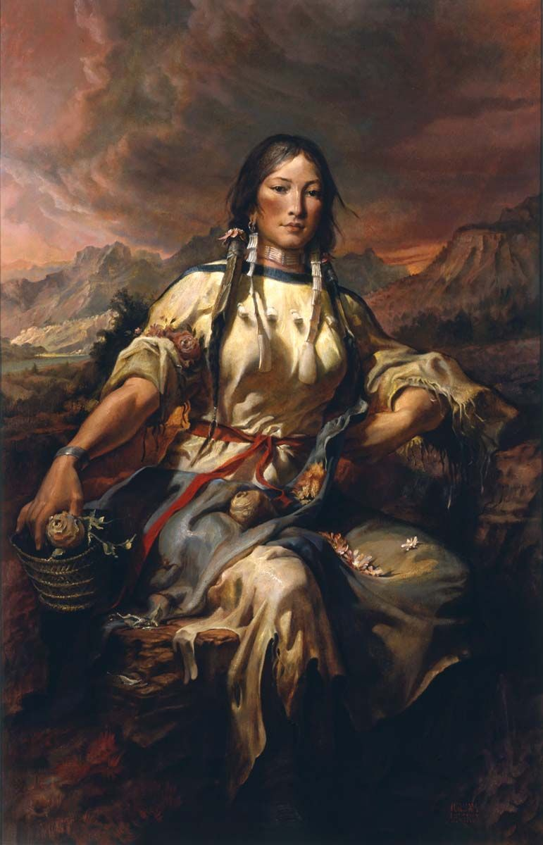 LEWIS /& CLARK EXPLORERS W SACAGAWEA OIL PAINTING ART POSTER PRINT ON REAL CANVAS