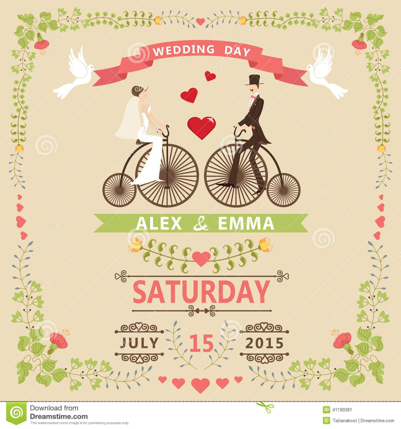 Old bicycle wedding google search vintage bike wedding for Hochzeitseinladungskarten vintage
