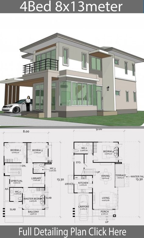 Home Design Plan 8x13m with 4 Bedrooms