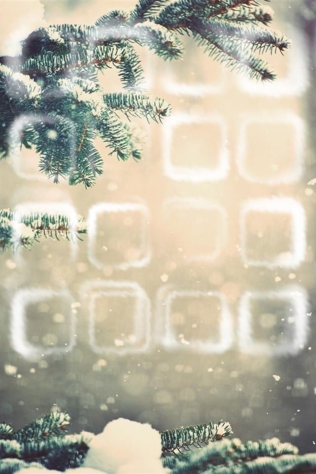 A Wintery Home Screen Wallpaper with Button outlines for