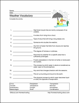 10 Worksheets to Teach Your Child Basic Weather Terms | Getting ...