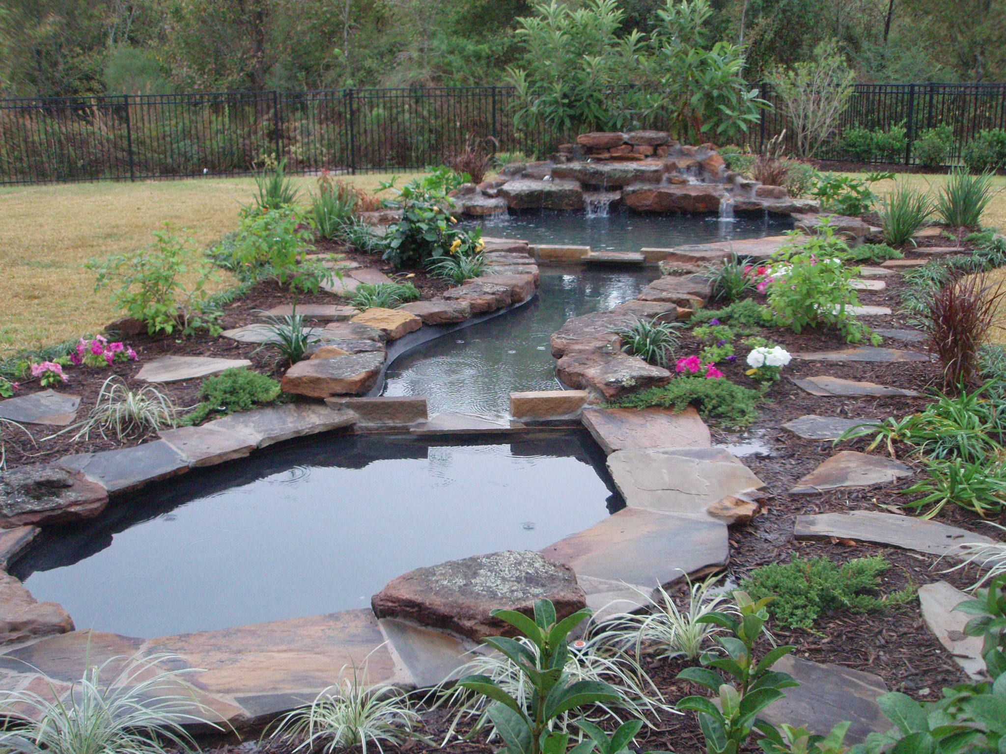 Natural pond landscaping home garden ideas large for Garden pond waterfall ideas