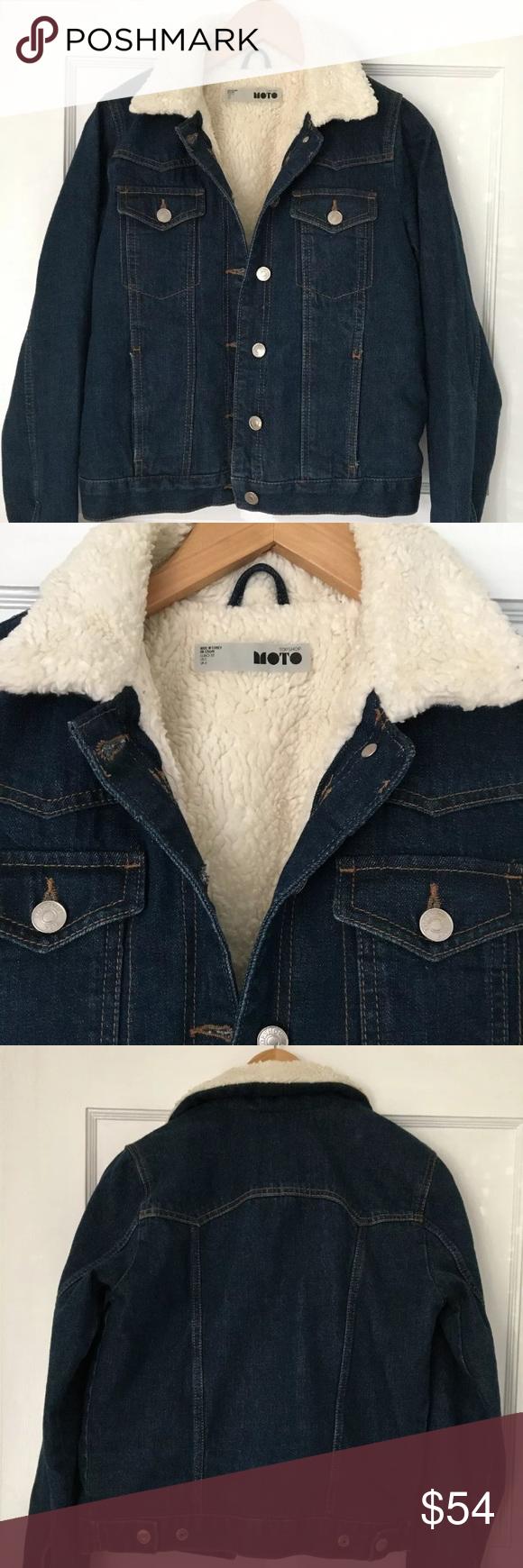 Moto Faux Sherpa Lined Jean Jacket Size 0 Lined