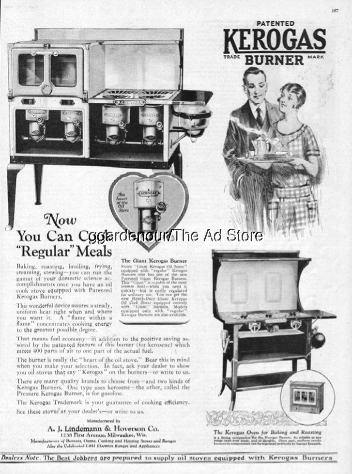1926 Kerogas Vintage Gas Cook Kitchen Stove Oven Lindemann Hoverson  Milwaukee Ad