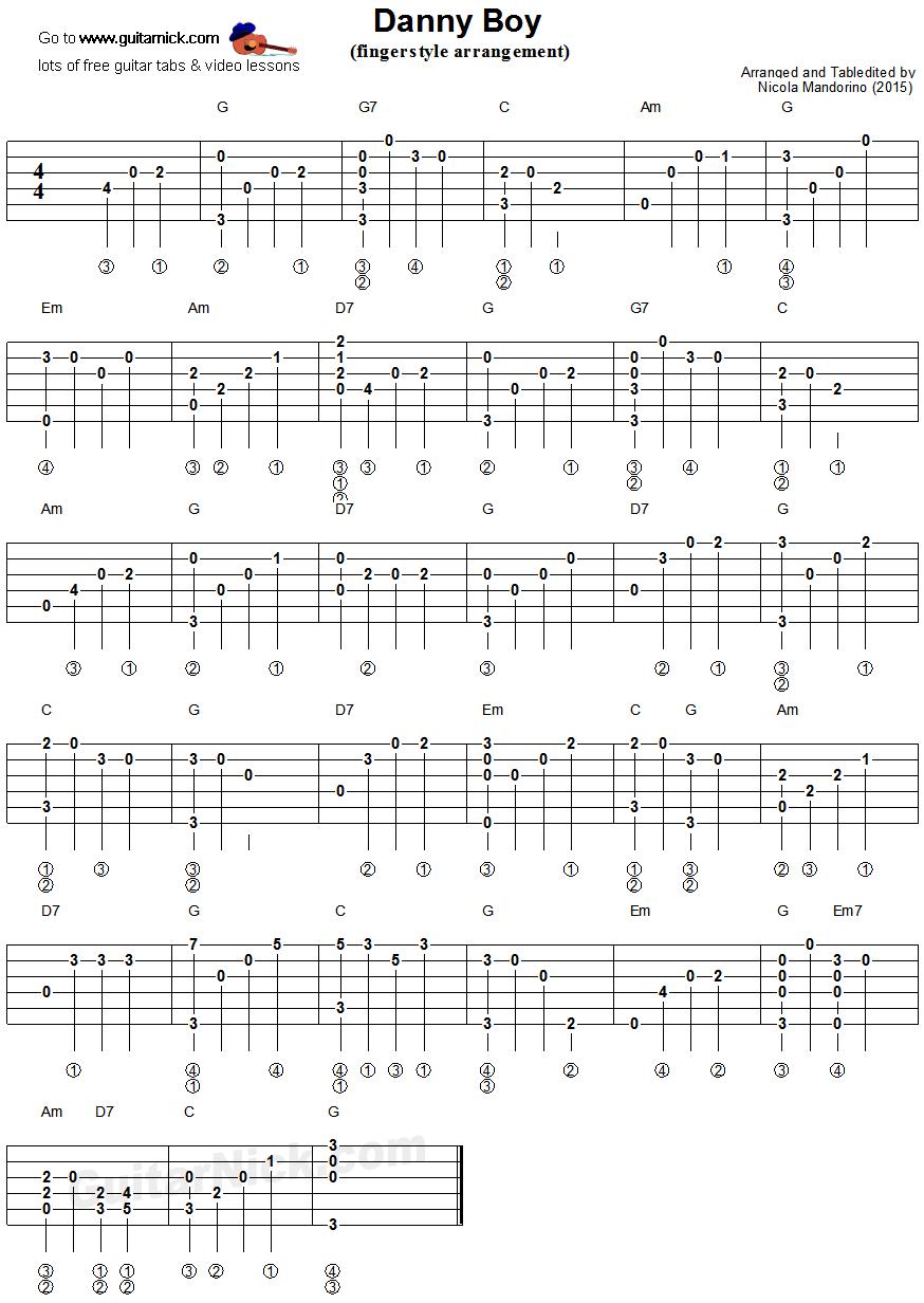 Danny Boy Fingerstyle Guitar Tablature Tabs Pinterest