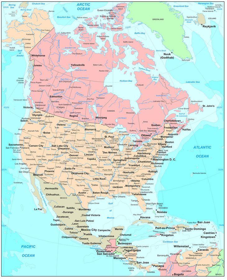North America Map. Political Continental Map , #spon