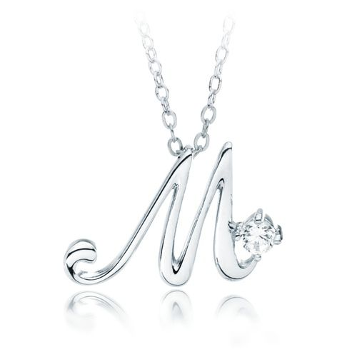 Letter M Name Initial Necklace With Cubic Zirconia  A Special