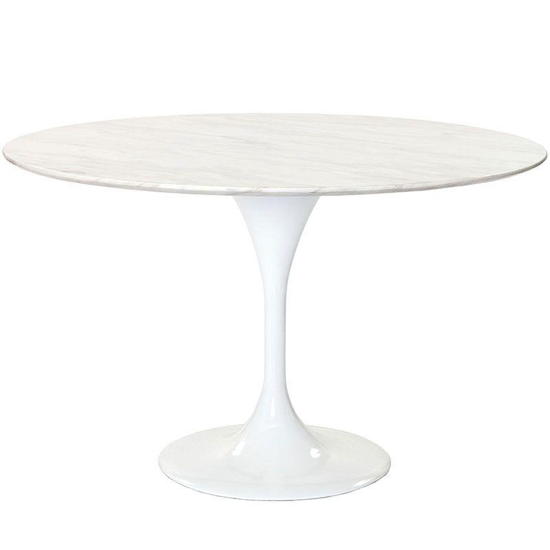 "Lisa 48""Marble Dining Table White - Modern Dining Tables - Sleek Modern Furniture"