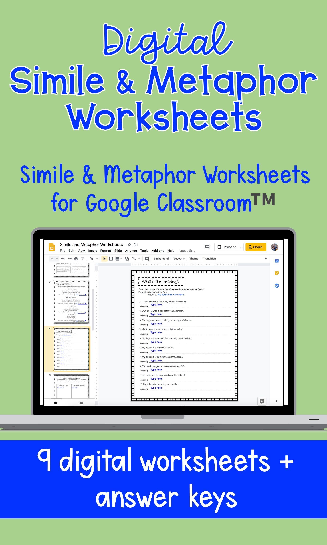 Digital Simile Metaphor Worksheets