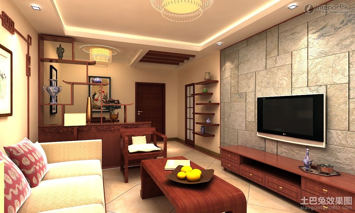 Simple Small Apartment Living Room Tv Background Wall Of Marble Decoration Effect Decoracao
