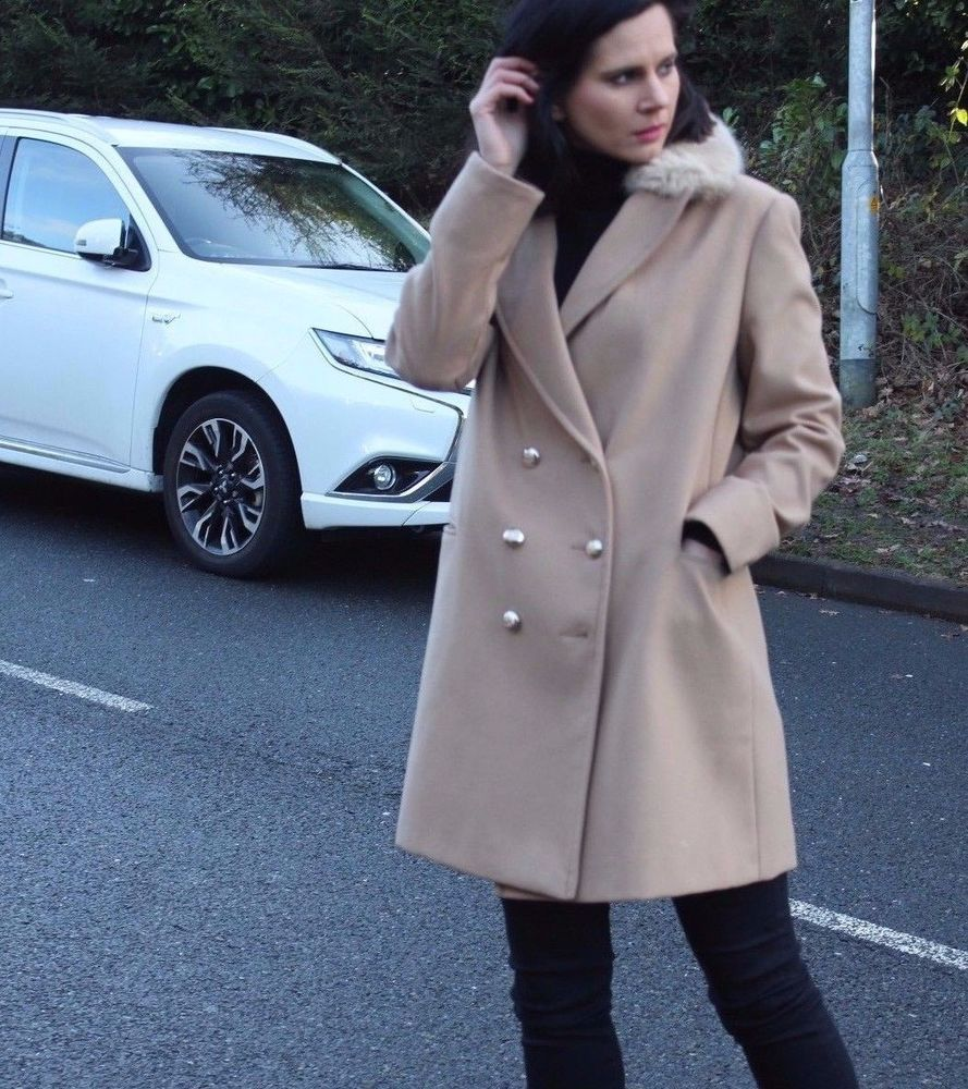 Topshop Grey Nancy Mac Biker Boyfriend Trench Slim Fur Jacket Coat 4 to 18