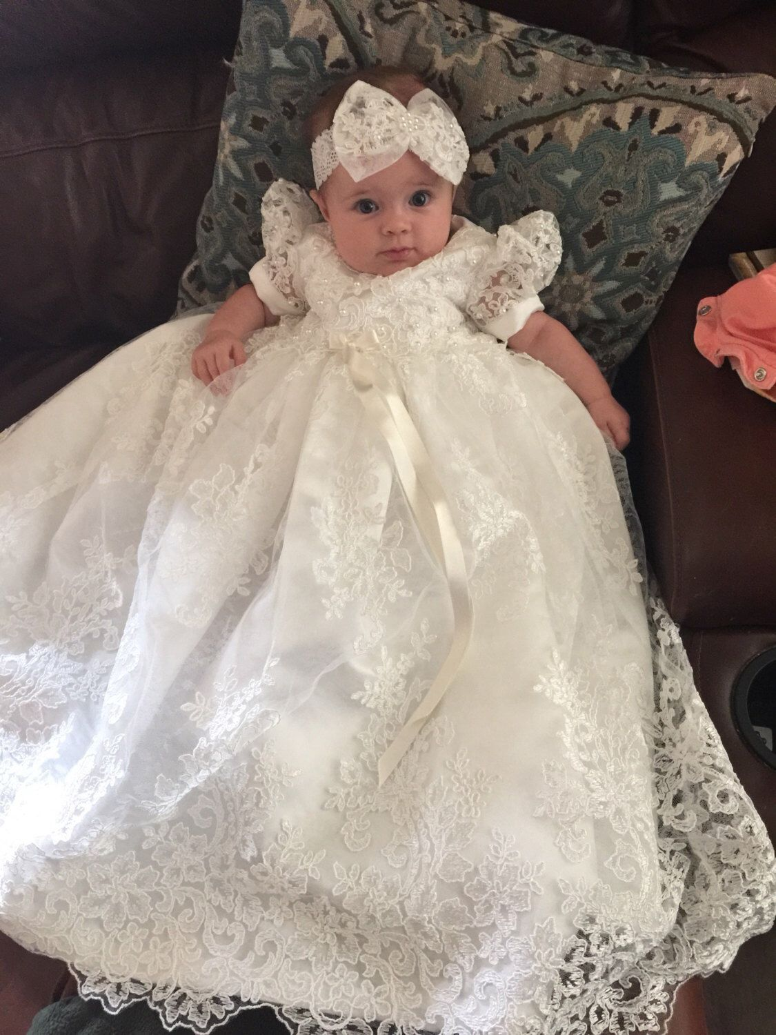 cad7d3b07 ... Baby Girl Birthday Baptism Dresses Custom with Shoes(China). Beaded  Alencon Lace Christening Gown, Baptism Gown by Caremour on Etsy https://