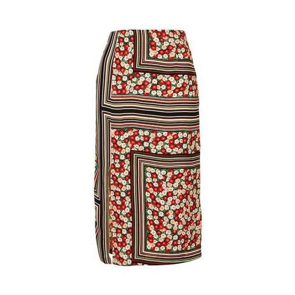 TopShop Floral Stripe Midi Skirt (€41) ❤ liked on Polyvore featuring skirts, multi, retro midi skirt, floral print skirt, striped skirt, stripe midi skirt and flower print skirt