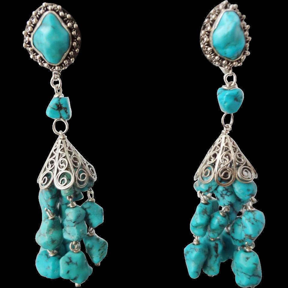 Long Sterling Silver Wire Wrapped Earrings Handmade Porcelain Earrings Long Turquoise Dangle Earrings Long Beaded Dangle Earrings