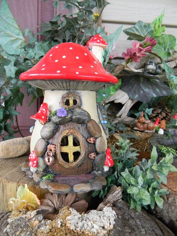 Ceramic Mushroom Fairy Toad House Red Amanita Mushrooms Ooak