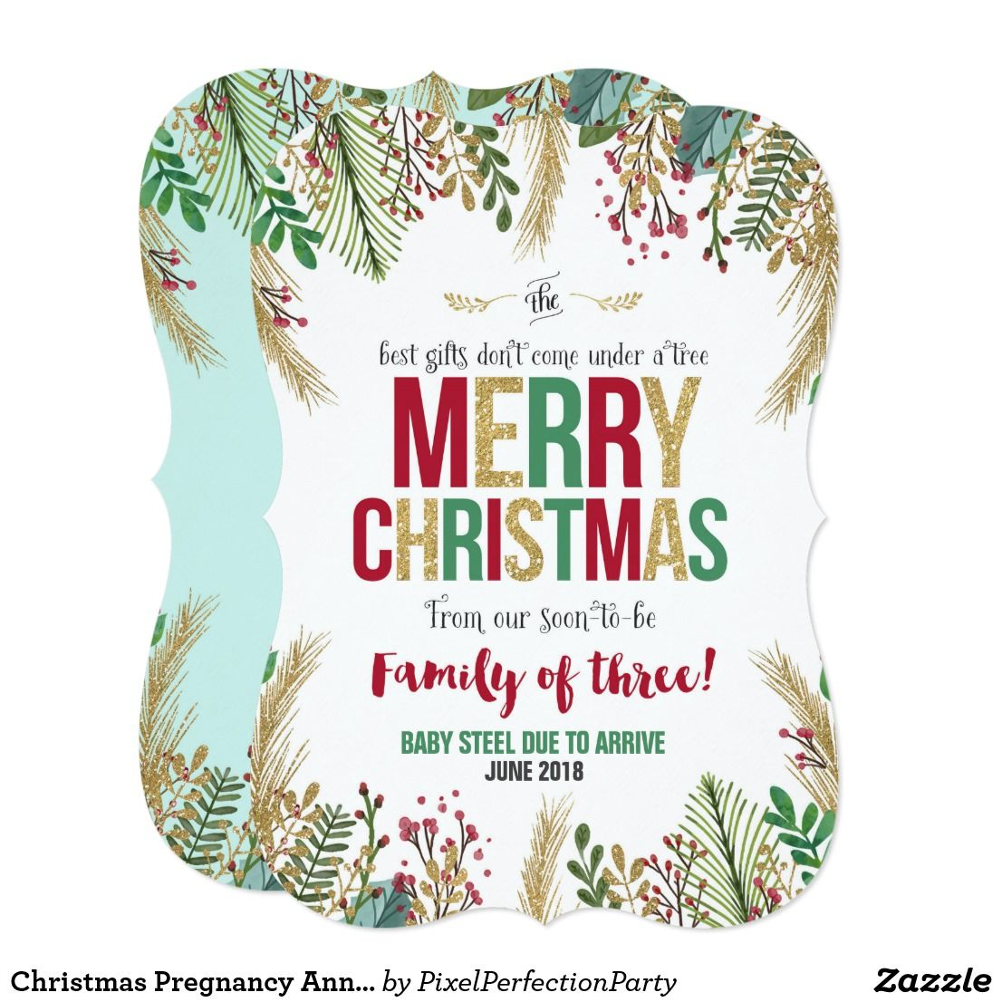 Christmas Pregnancy Announcement Christmas Card | Pregnancy ...