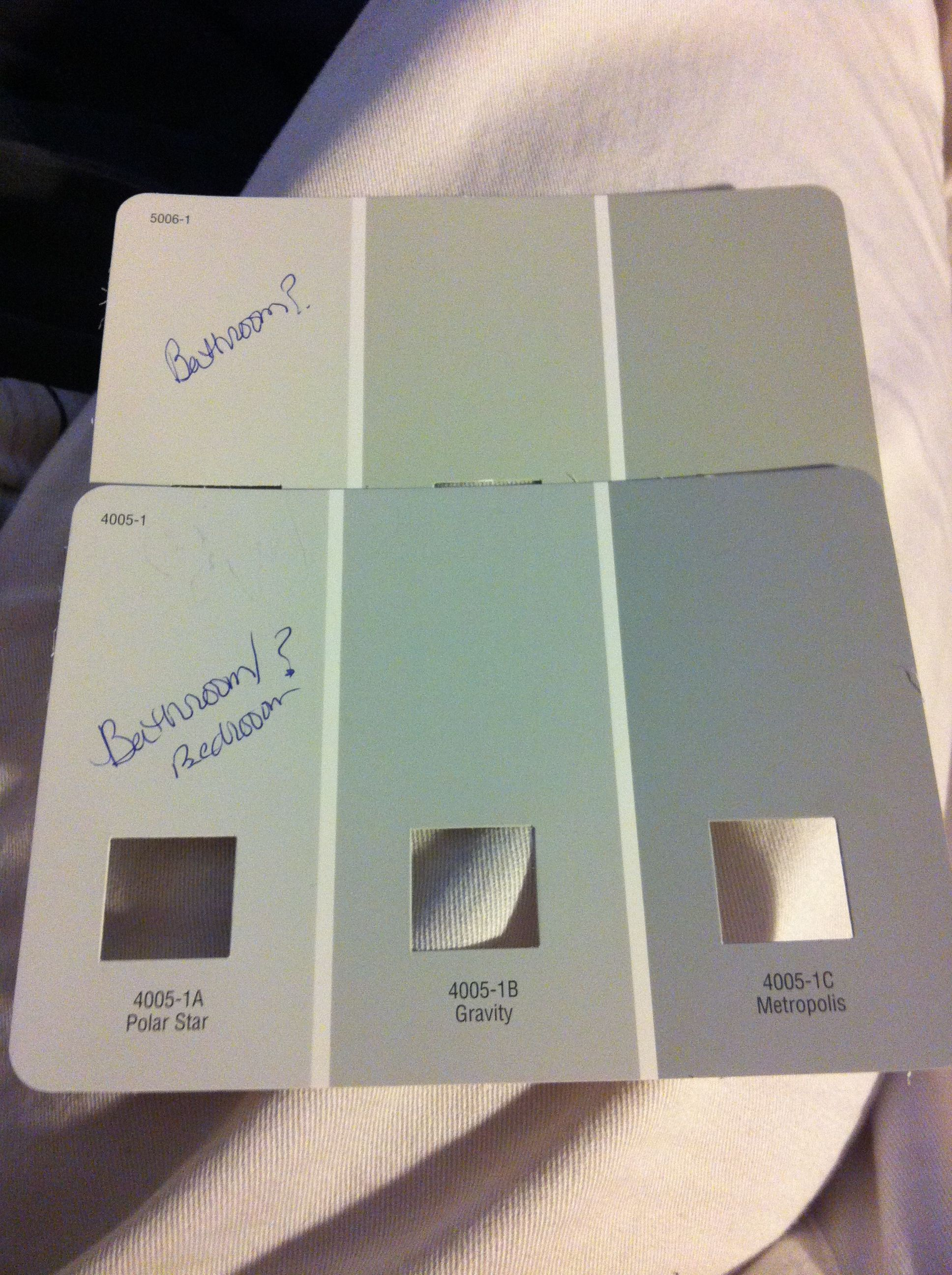 Possible paint colors valspar polar star gravity for the bedroom and comet dust norte dame for the bathroom