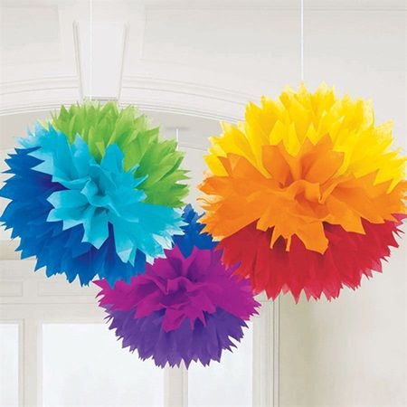 rainbow fluffy tissue paper decorations - Tissue Paper Decorations