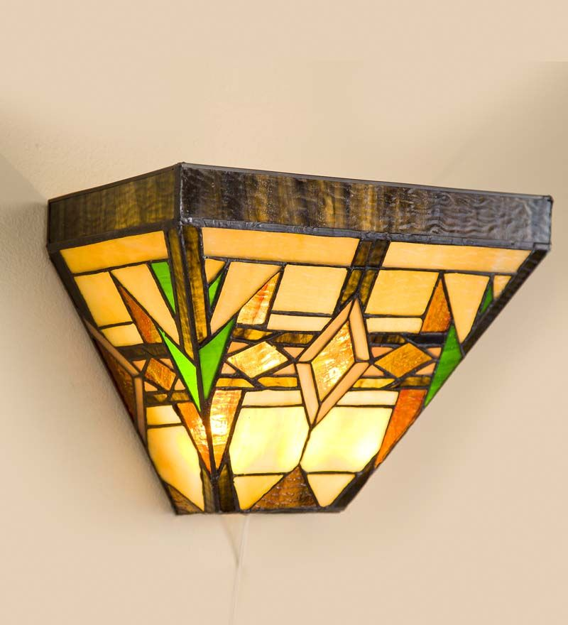 For either side of mantel: Stained Glass Wireless Wall Sconce - Arts ...