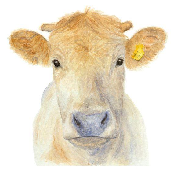 COW PRINT - Cow painting, Cow pictures, Cow art, Farm art, Farm ...