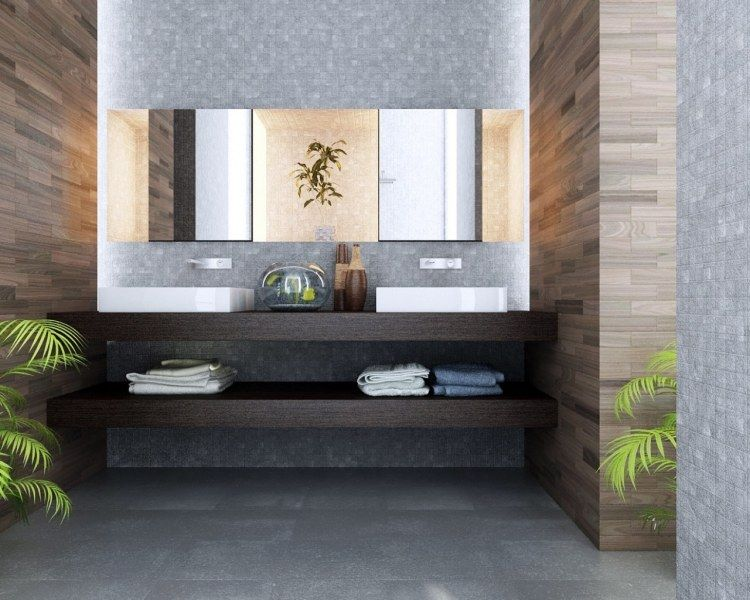 graue mosaik-fliesen matt und wandfliesen in holz-optik …   pinterest, Hause ideen
