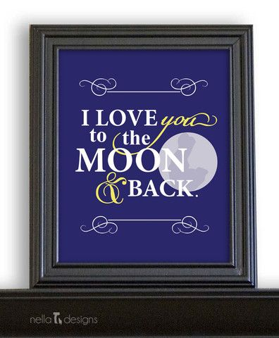 I love you to the moon and back - art print in storm