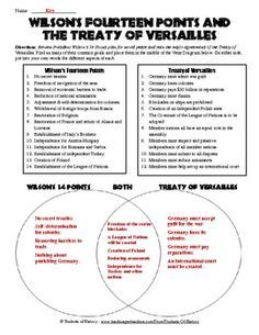 Printables Treaty Of Versailles Worksheet treaty of versailles and 14 points venn diagram great worksheet that compared the using a to