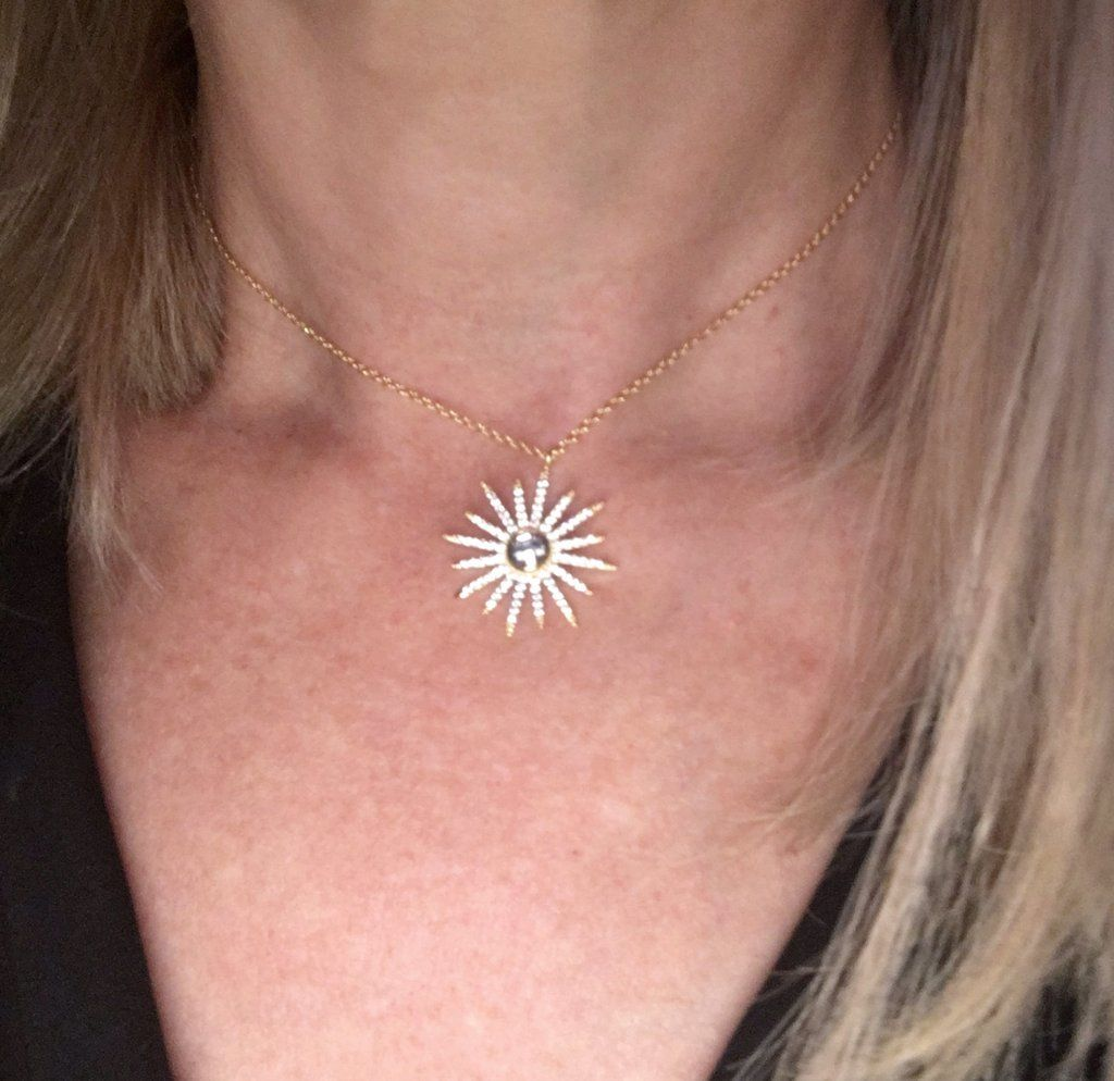 """First Star CZ Choker / Necklace This is a stunning CZ gold plated starburst/ star necklace that can be worn alone or layered.  So elegant yet stylish. It Can adjust to 16"""",14"""", 12"""", 10"""" so you have the choice to wear it a choker or a longer layering piece. Since it can made into 10"""" and 12"""" it can also be worn by child. http://www.bettinascollection.com/products/first-star-cz-choker-necklace-adjustable-for-adults-teens-children"""