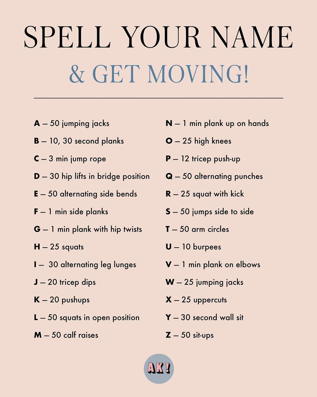 Workout Plan Spell Your Name Workout Your Name In 2020 Spell Your Name Workout Workout Plan For Beginners At Home Workout Plan