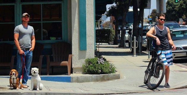 Two men standing on street in Santa Monica