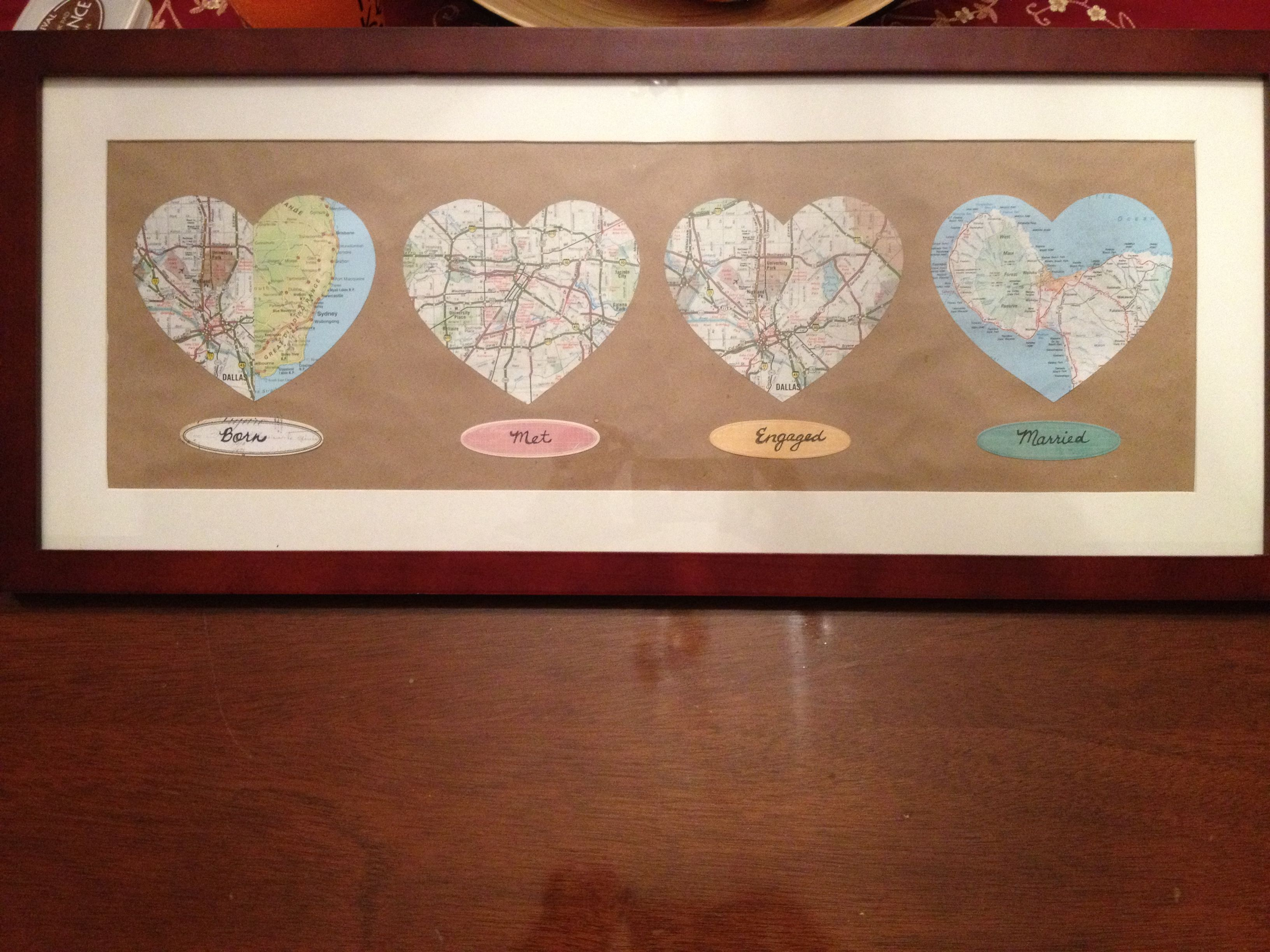 Homemade Wedding Gift Ideas For Bride And Groom: Born, Met, Engaged, Married Map Cutouts For The Bride