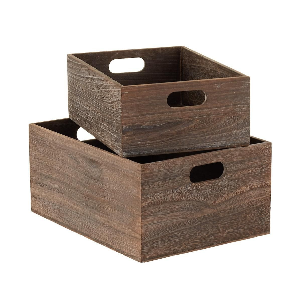 Feathergrain Wooden Storage Bins With Handles Wooden Storage Bins Wooden Bins Wooden Storage