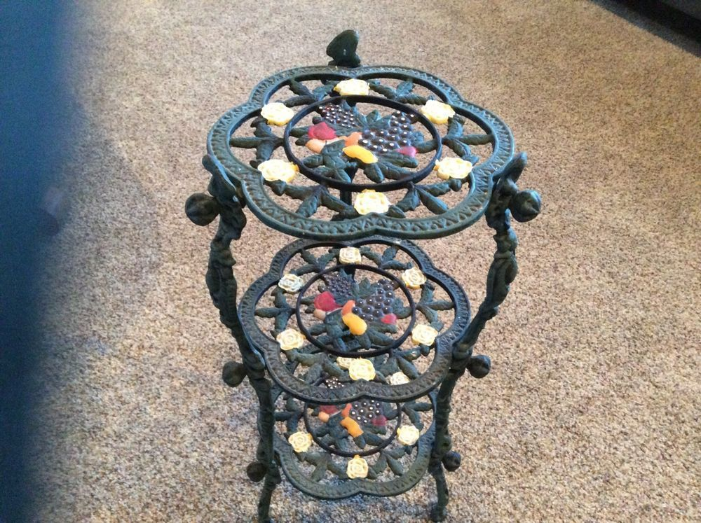 Gusseisen Metall 3 Tiered Plant Flower Stand 24 Cast Flower