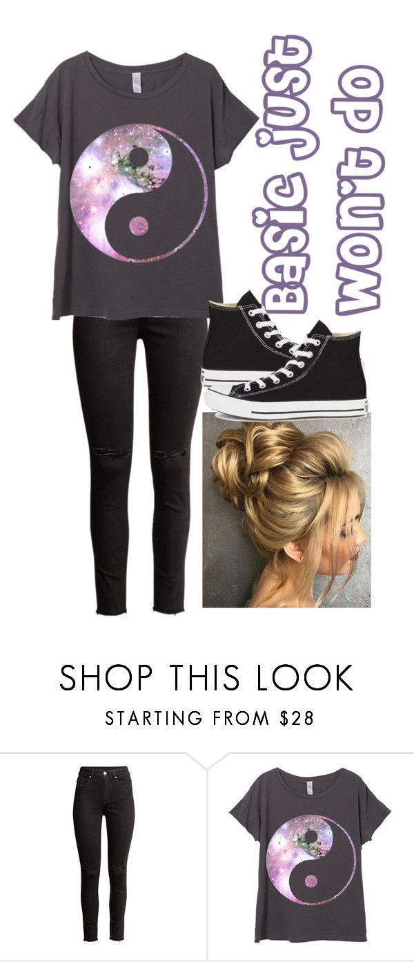 """""""Basic just won't do"""" by ria-c ❤ liked on Polyvore featuring H&M and Converse"""