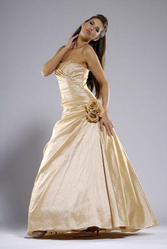 Abendkleid mit Blume, gold, mit Stola