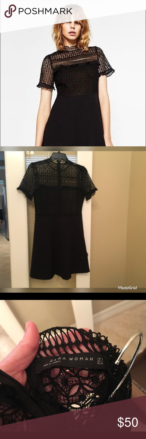 "3a36a409 RARE ZARA BLACK GIUPURE LACE SKATER DRESS S LENGTH 32"" WAIST 14"" BUST 16""  Seen on Riverdale (Veronica) EUC Perfect condition! Fits TTS SMALL  Features: Sheer ..."