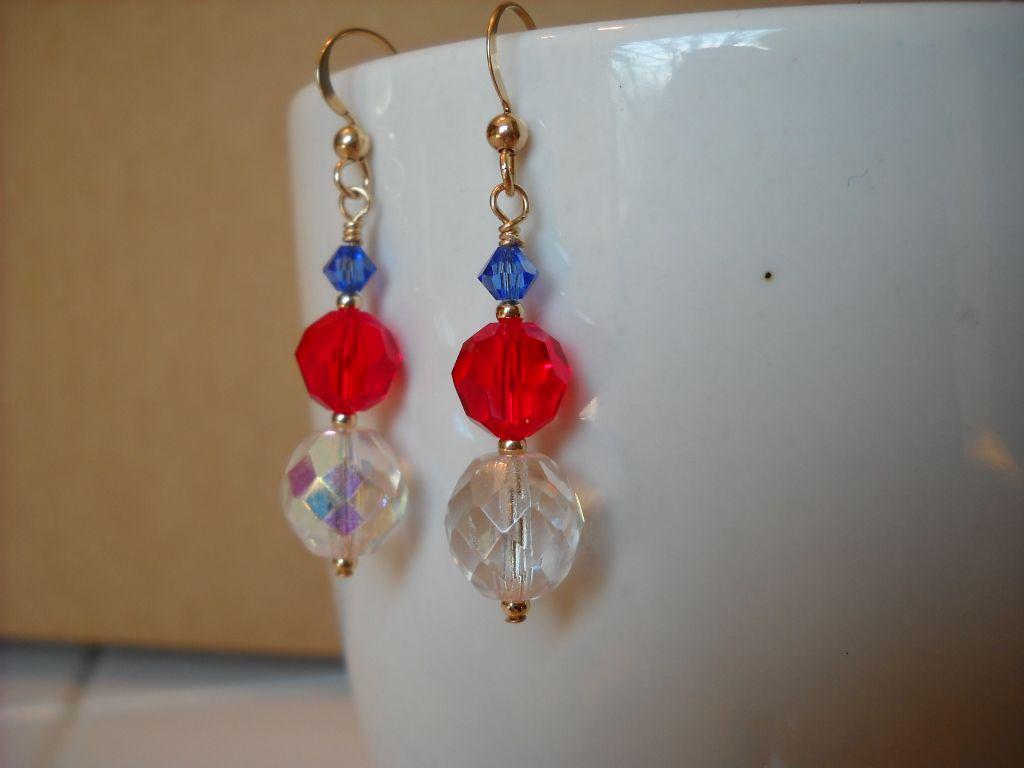 Patriotic earrings. A gift for Maya, by MyPrettyEarrings