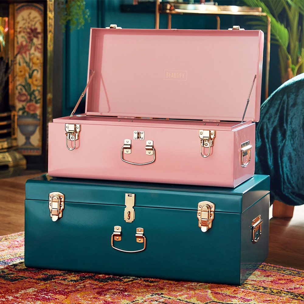 Set Of 2 Teal Pink Metal Storage Trunks In 2020 Storage Trunks Teal And Pink Decorative Storage Trunks