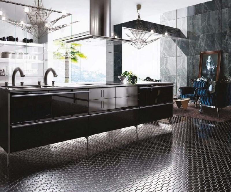 Mosaikfliesen boden  Mosaikfliesen am Boden der modernen industriellen Küche | Ideen ...