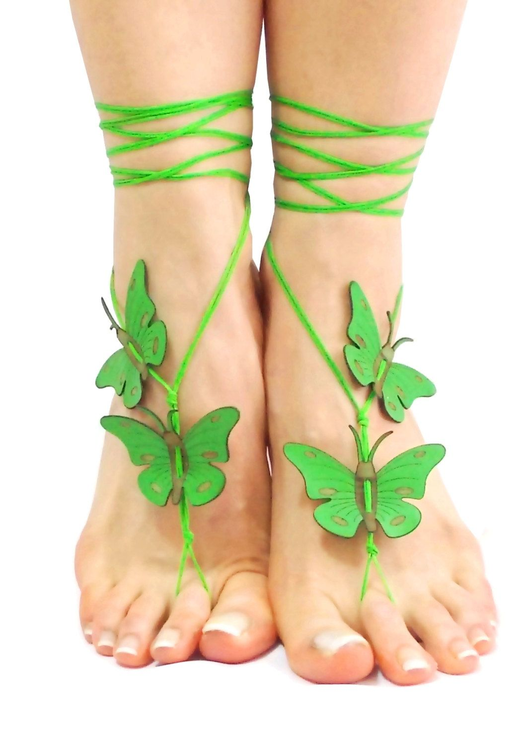 Green genuine leather butterfly barefoot sandal