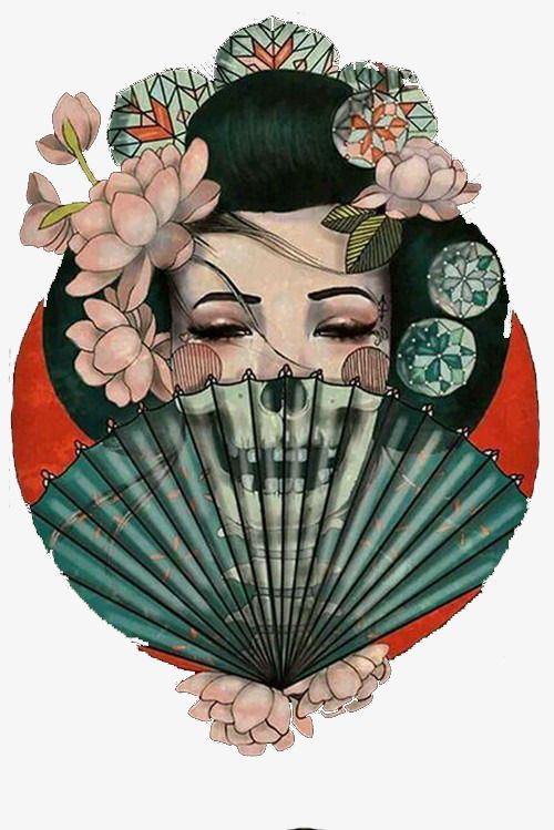 Death Becomes Her Japanese Geisha Fine Art Print Amy Dowell Tattoo Lithograph