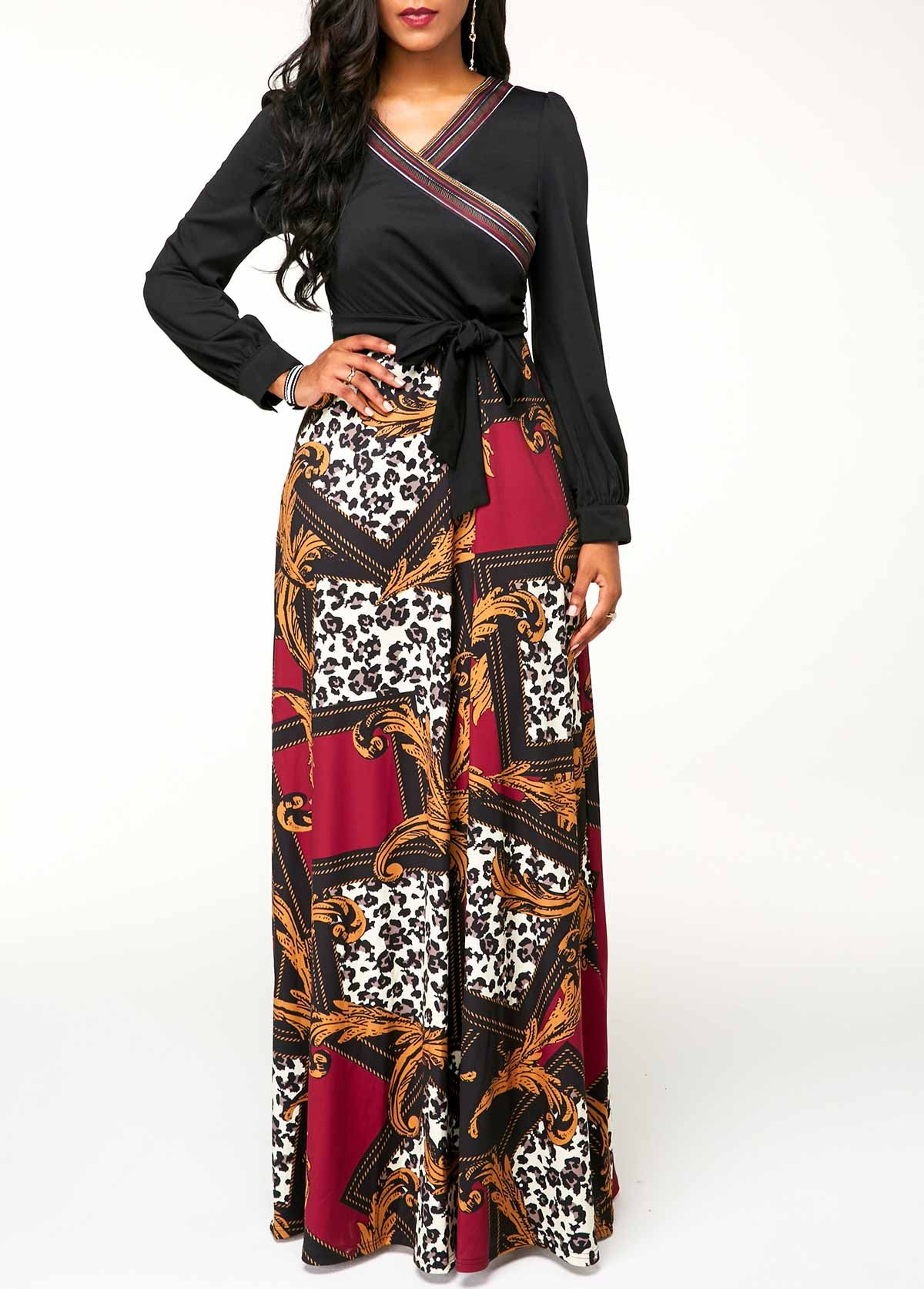 Long sleeve mock wrap v neck maxi dress in my fashions