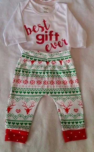 FREE SHIPPING !!!!!    0-3mo Christmas Pants Outfit w/ matching headband, Christmas Baby Outfit, Baby Gift,  Photo Prop Outfit