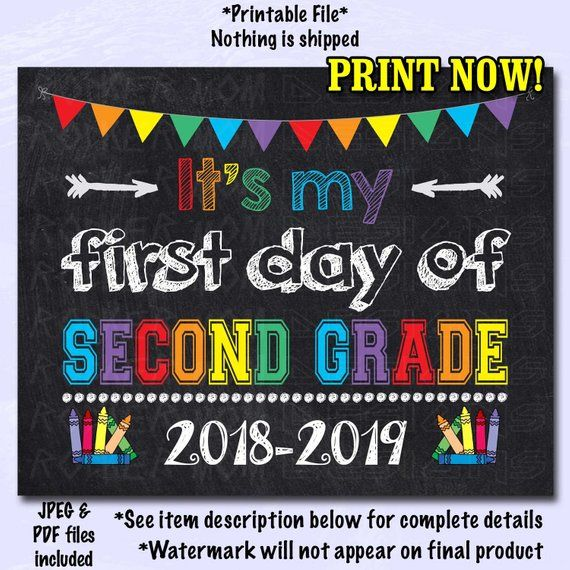 picture regarding First Day of Second Grade Printable Sign referred to as Initially Working day of Instant Quality Indicator, Initial Working day of College Indicator