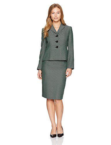 Le Suit Womens Petite Size Tweed 3 Button Skirt Suit
