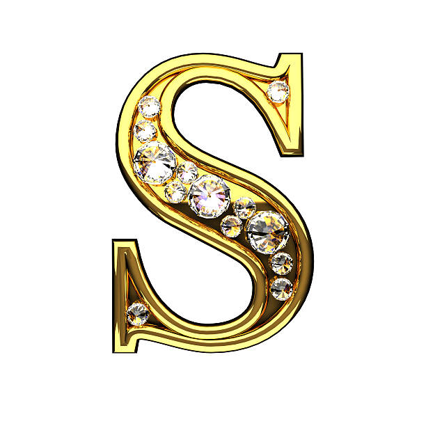 S Isolated Golden Letters With Diamonds On White Sanat Desen Fantezi Resimler Urun Tasarimi